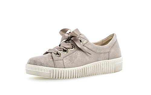 Gabor Damen Sneaker, Frauen Low-Top Sneaker,Best Fitting,Übergrößen,Optifit- Wechselfußbett, schnürschuh sportschuh Frauen,Muschel,39 EU / 6 UK