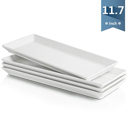 Sweese 701.101 White Rectangular Platters, Porcelain Serving Plates for Parties - 11.7 Inch, Set of 4