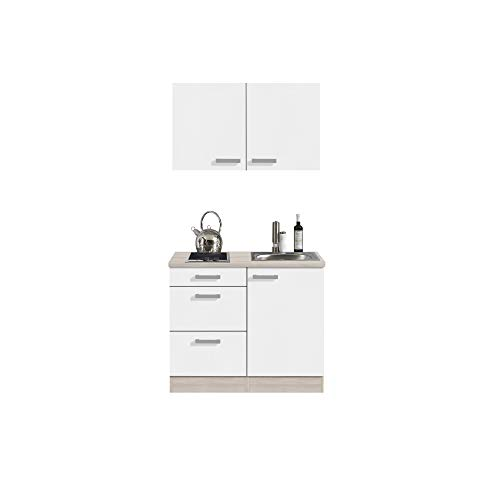 Singleküche BARCELONA - Miniküche mit Glaskeramik-Kochfeld und Spüle - Breite 100 cm - Weiß/Akazie Dekor