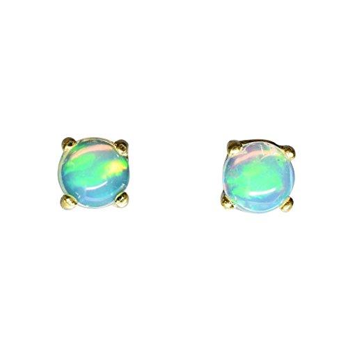 BONA ROCA Ohrstecker Ohrringe echte äthiopische Edel Opal Cabochons 5mm Sterling Silber 18Karat Gold plattiert, OG-5005