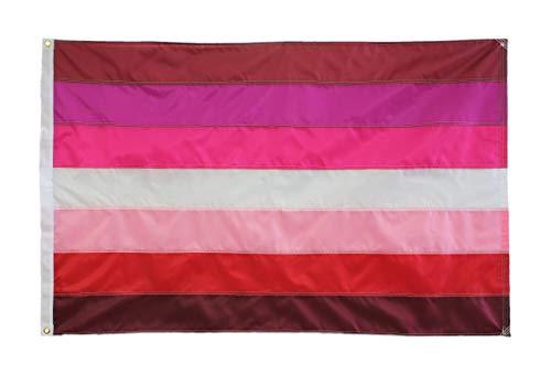 Lesbian Pride Flag, Hand Sewn, 3ft by 5ft, 7 Stripe