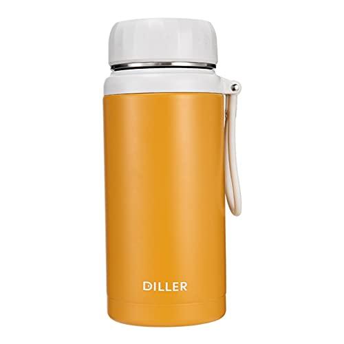 Hislaves Botella de agua de 1000/1200/1500 ml para adultos, boca ancha 304 de acero inoxidable de gran capacidad para deportes de oficina, amarillo 1000 ml