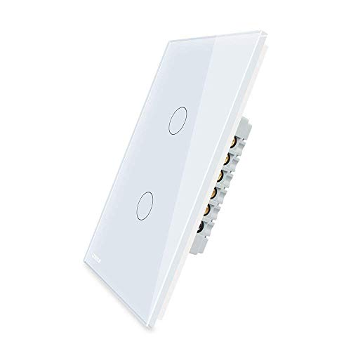 LIVOLO Wall Touch Light Switch With LED Indicator White US Standard AC 110-250V 2 Gang 3-Way Switch,Suitable for 1 Gang Wall Box, C502S-11