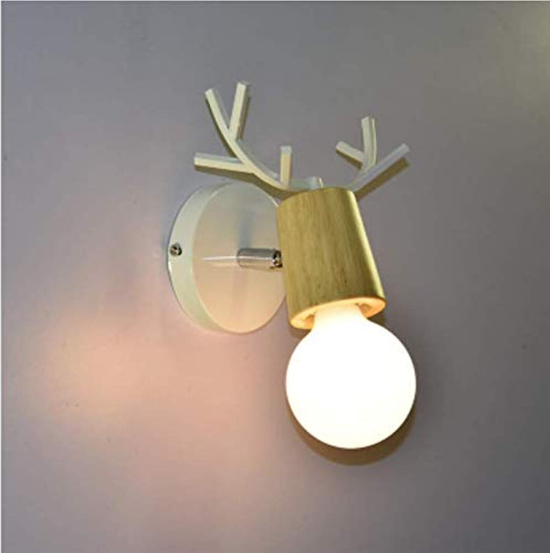 Nordic Hirscheisen E27 Wandleuchte Nachttischlampe Kinderzimmer Flurdekoration wei