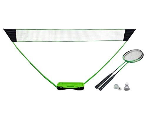 Emanhu Badminton-Set mit Netz Koffer Bälle Schläger Standfuß Teleskopstangen Federball