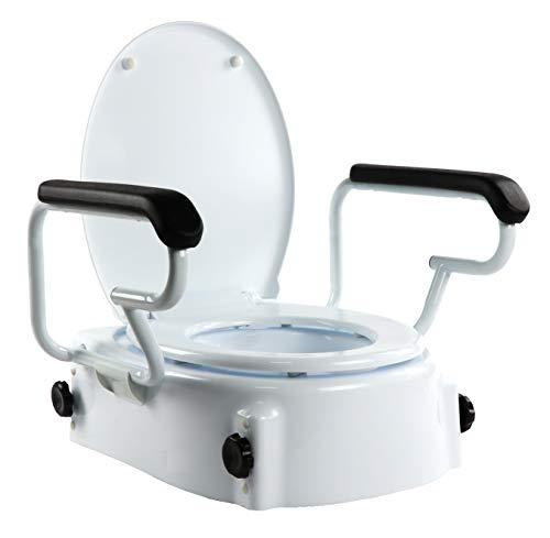 OrtoPrime Elevador WC Inclinable con Reposabrazos Abatibles - Altura Regulable 5, 10 y 15 Centímetros - Alza wc con Tapa - Alzador de Inodoro Portátil