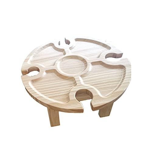 Terero de copa de vino, mesa de playa plegable, mesa de picnic plegable, mesa de picnic plegable de madera con soporte de vidrio Redondo de escritorio plegable para vino Tabla plegable para la fiesta