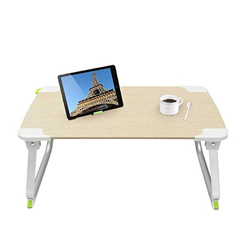 Tokyia Northern Europe Foldable Laptop desk Folding Laptop Table Notebook Computer Desk Stand Bed Table Portable Home Office For Home Office (Color : Beige, Size : 52x29.2x24.3cm)