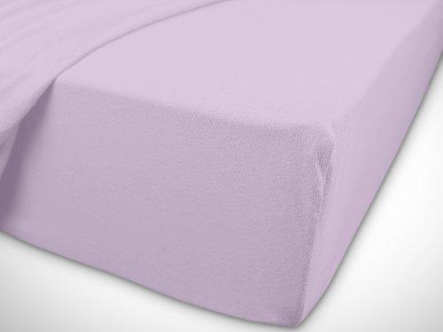 npluseins klassisches Jersey Spannbetttuch – erhältlich in 34 modernen Farben und 6 verschiedenen Größen – 100% Baumwolle, 70 x 140 cm, flieder - 7