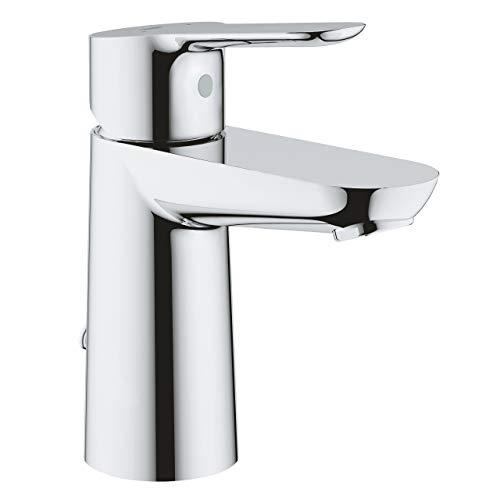Grohe BauEdge - Grifo de lavabo monomando para instalación en un solo agujero, altura estándar, con sistema de ahorro de agua, cadena retráctil (Ref. 23329000)