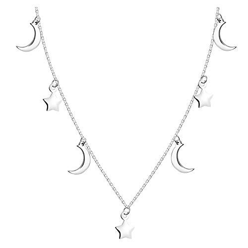 SOFIA MILANI - Collar para Mujeres en Plata de Ley 925 - Colgante de Luna Estrella - 50278