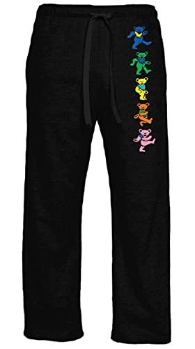 Ripple Junction Grateful Dead Adult Unisex Dancing Bears Vertical Light Weight Pocket Lounge Pants XL Black