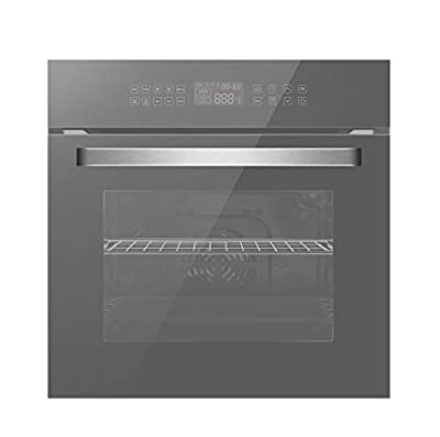 """Empava 24"""" Electric Convection Single Wall Oven 10 Cooking Functions Deluxe 360° ROTISSERIE with Sensitive Touch Control in Silver Mirror Glass EMPV-SOC17, 24 Inch"""