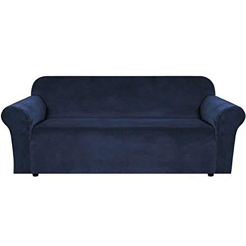 JHLD Samt Sofabezug, Stretch Sofa Überwürfe Elastische Sofahusse Weiche Maschinenwaschbar Couchbezug Zum 2 Sitzer 3 Sitzer-Marine-Groß