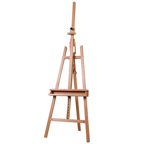 MEEDEN Large Painters Easel Adjustable Solid Beech Wood Artist Easel, Studio Easel for Adults with Brush Holder, Holds Canvas up to 48'