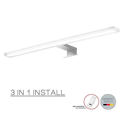Cywer LED Spiegelleuchte 60cm,IP44,14w,Aufbauleuchte+Klemmleuchte,Badleuchte Schminklicht Badezimmer Schrankleuchte Aufbauleuchte Schrank-Beleuchtung Klemmleuchte Schminklicht