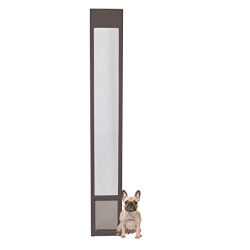 PetSafe Freedom Aluminum Patio Panel Sliding Glass Dog and Cat Door, Adjustable 76 13/16 in to 80 11/16 in - Medium Bronze Pet Door