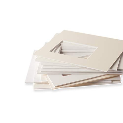 Passepartouts in Museumsqualität – alle Weißtöne – 1,4mm stark – alle Größen - (Außen:...