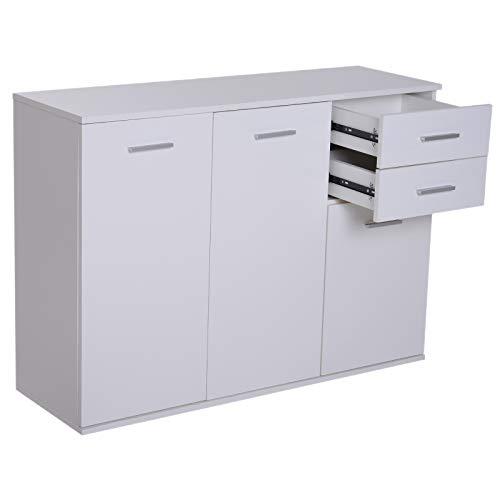 homcom Armadietto da Ufficio 3 Armadietti 2 Cassetti Legno 106x35x76cm Bianco