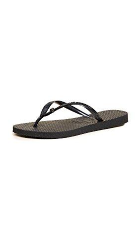 Havaianas Women's Slim Crystal Glamour Flip Flop Sandal,Black, 37/38 BR(7-8 M US Women's / 6-7 M US Men's)