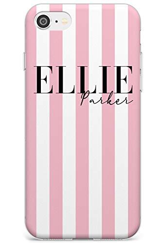 Personalizzato Rosa e White Stripes Slim Cover per iPhone 5 TPU Protettivo Phone Leggero con Femminile Strisce Nome Unico Moda