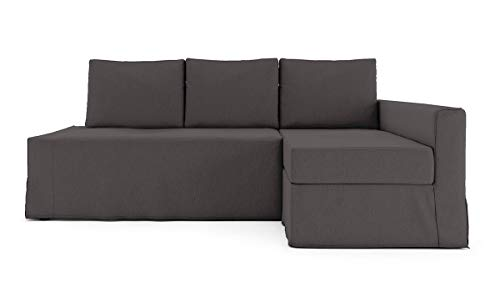 TLY Cotton Loose Fit Friheten Sleeper Sofa Cover for IKEA Friheten 3 Seat Sofa Bed Slipcover and Sectional Chaise Sofa Cover (Hidden Sofa Bed Cover is not Included) / Dark Grey