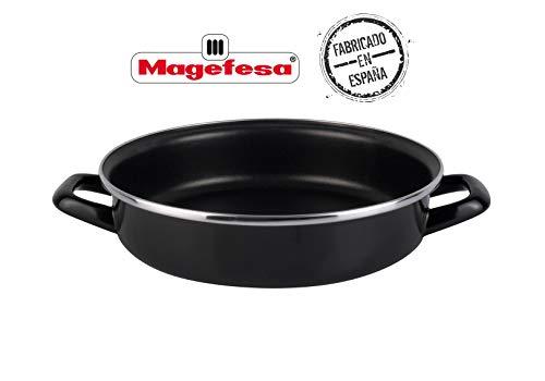 Magefesa Black Tartera 28 cm de Acero esmaltado, Antiadherente bicapa Reforzado, Color Negro Exterior. Apto para Todo Tipo de cocinas, incluida inducción Vitrificado