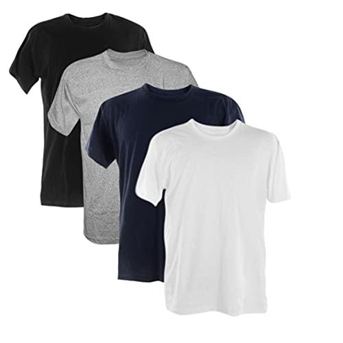 Kit 4 Camisetas 100% Algodão 30.1 Penteadas (Preto, Mescla, Marinho, Branco, M)