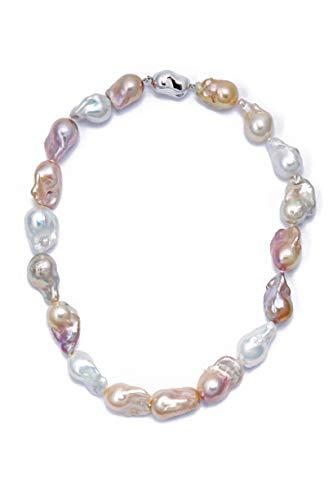 UpEarl, collana con perle barocche, multicolore, 18 mm, lunghezza 45,7 cm, con chiusura barocca in argento
