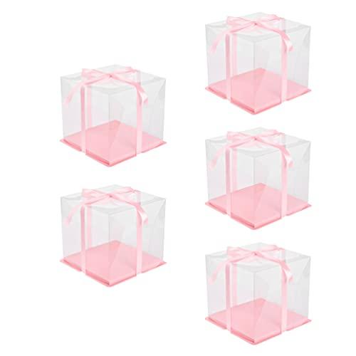 BESTonZON 5 Juegos de Cajas de Embalaje para Pasteles Caja de Pasteles para Postres Cajas para Tartas para Cumpleaños Patry