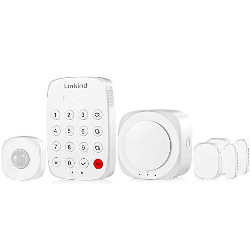 Linkind Smart Alarminstallatieset, mobiele telefoon (app) bestuurbaar, 1 x bewegingsmelder, 2 x deur-/raamsensoren, compleet alarmsysteem set