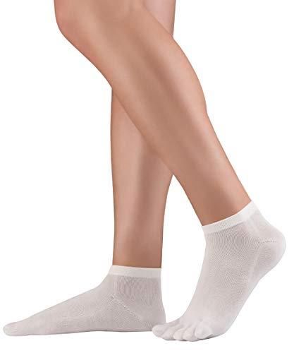 Knitido Dr. Foot® Silver Protect Calcetines antibacterianos con dedos, de algodón con fibra de plata para la diabetes y la prevención de infecciones, Talla:35-38, Colores:blanco (002)
