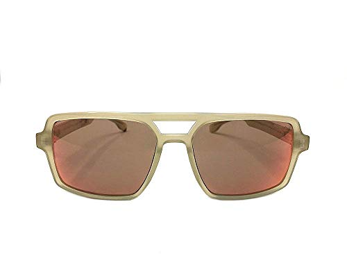 RossoT, Gafas de sol. Lentes de espejo,montura y patillas color tabaco brillante. Con etiqueta descriptiva personalizable. Producto artesanal, Made in Italy