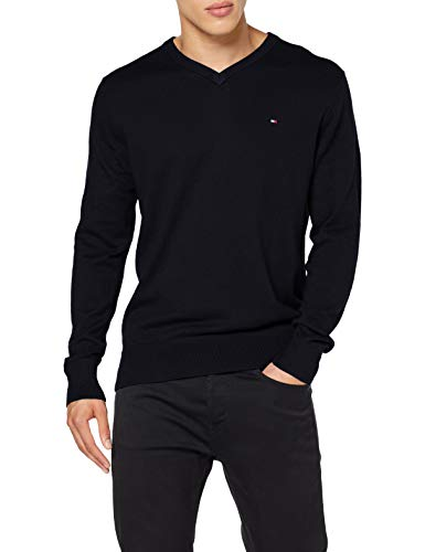 Tommy Hilfiger Herren Pima Cotton Cashmere V Neck Pullover, Desert Sky Heather, XX-Large
