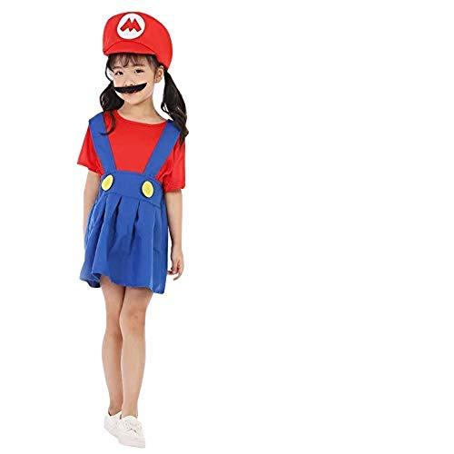thematys Sombrero Super Mario Luigi + Vestido + Barba - Set de Disfraces para niñas Carnaval y Cosplay - 3 Tallas Diferentes (S, Mario, 110-120cm)