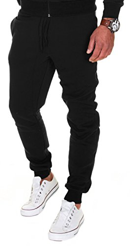 Merish Pantaloni Sportivi Uomo Cotone Slim Fit Pantaloni Allenamento Modell 211 Nero M