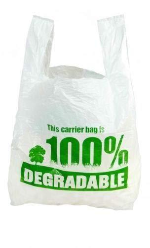 Borsette in plastica resistente, 100% biodegradabili, 33 x 48,3 x 58,4 cm, grandi, con stampa verde, Plastica, WHITE-GREEN, 13'X19'X23'