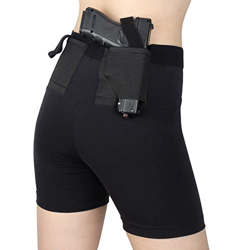 Kosibate Short Holster, Gun Concealment Leggings for Women Concealed Carry with Two Pistol Pockets Clothing, Fits Most Handgun Holsters