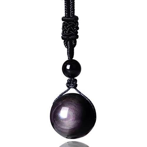 Obsidian Necklace, Rainbow Obsidian Necklace Men Women Couple Black Real Raw Natural Stone Pendant Talisman 14mm/16mm/18mm/20mm with Lucky Rope