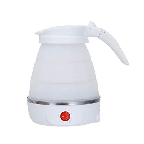 Bouilloire à Eau Portable Pliable 600ML De Qualité Alimentaire En Silicone Voyage Camping Randonnée Pot électrique,White