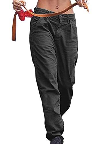 Minetom Damen Hosen Jogginghose Sporthose Workwear Combat Cargo Relaxed Fit Taschen Casual Solide Boyfriend Outdoor Freizeithose Schwarz L