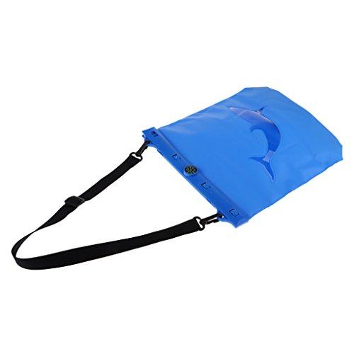 Homyl Sac Sec Housse à Sangle Amovible avec Mini Boussole Intégré pour Plage Piscine Natation Plongée Camping - Bleu, 25x26x6 cm