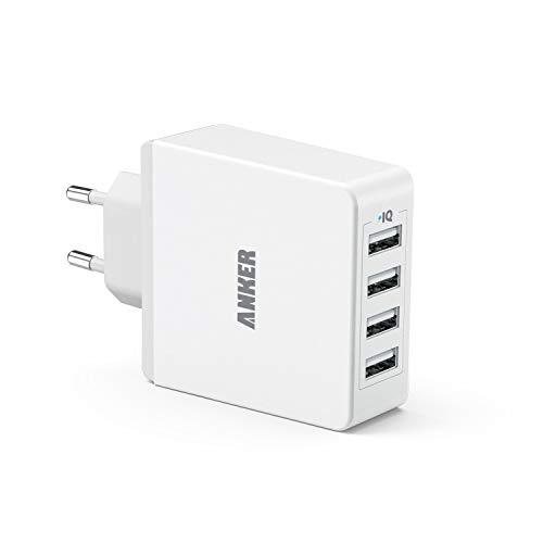 Anker 36W 5V / 7.2A 4-Port USB Ladegerät Wand Ladeadapter mit PowerIQ Technologie Wall Charger für Smartphones Tablets und andere USB-ladende Geräte (Weiß) (Generalüberholt)