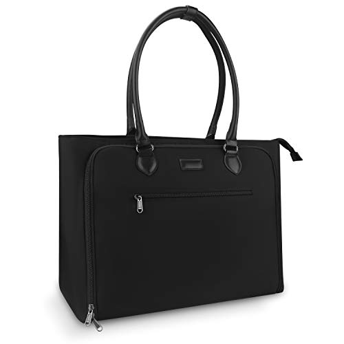 Relavel Laptop Tote Bag Weekender Bags for Women Travel Overnight Work Bag (Black)