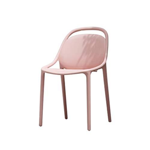 Eetstoel, Eenvoudige Rugleuning Thuisstoel Bureaustoel Restaurant Enkele Plastic Bureaustoel Computer Stoel (Color : Pink)