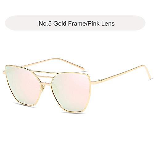 Gafas De Sol De Marca Cat Eye, Gafas De Sol Reflectantes De Metal Vintage para Mujer, Gafas De Espejo Retro, Gafas De Sol Rosa