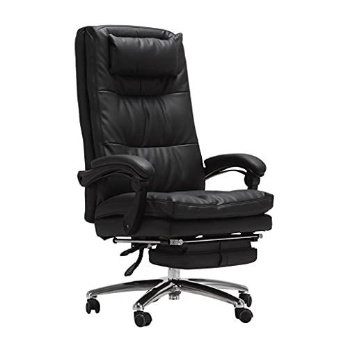 Sillas de Oficina Jefes Asiento Giratorio computadora reclinada para el hogar ejecutiva de Cuero de Negocios (Color : Black, Size : 68 * 68 * 126cm)