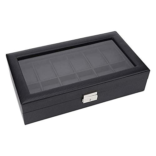 Peakfeng Reloj de Tapa de Vidrio Joyas de exhibición Caja de Almacenamiento Caja 12 Gridos Carbono de Fibra de Carbono Caja de Caja Caja de Almacenamiento Colector de Almacenamiento Organizador Negro