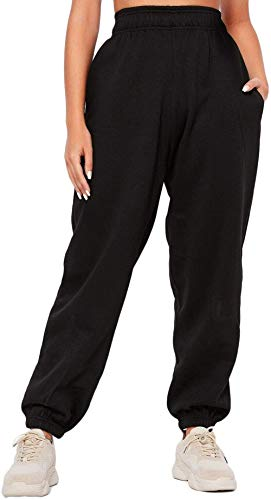 BriskyM Pantaloni della Tuta Inferiori da Donna Tasche Vita Alta Sportivo Palestra Pantaloni Sportivi da Jogger Pantaloni Lounge (Nero, S)