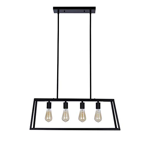 Amazon Brand – Stone & Beam Industrial Open Rectangle Frame Chandelier Pendant Light, LED Bulbs Included - 9.5 x 9.5 x 14.38 Inch, Matte Black